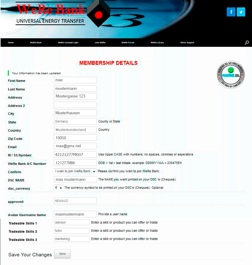 Muster Registrierungs-Formular